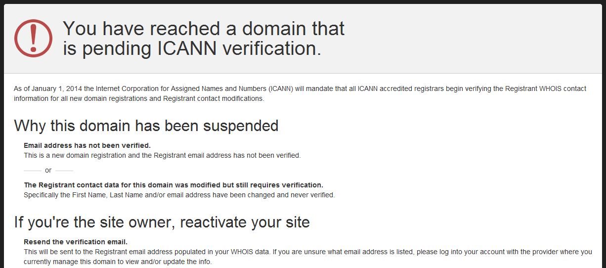 You have reached a domain that is pending ICANN verification